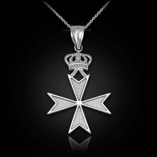 Sterling Silver Maltese Cross Royal Crown Pendant Necklace