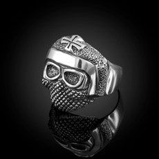 Sterling Silver Mens Templar Rebel Biker Ring