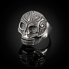 Solid Sterling Silver Santa Muerte Sugar Skull Mens Ring