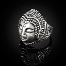 Solid Sterling Silver Buddha Head Tibetan Yoga Mens Ring