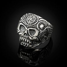 Sterling Silver Sugar Skull Biker Ring