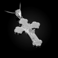 Sterling Silver Rosary Cross Prayer Pendant Necklace