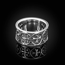Sterling Silver Jerusalem Maltese Cross Mens Ring Band