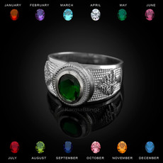 Sterling Silver Cedar Tree of Lebanon CZ Birthstone Ring