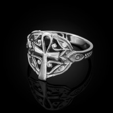 Sterling Silver Ankh Egyptian Eye of Horus Ring