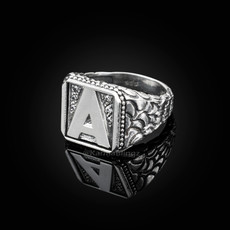 "Sterling Silver Letter ""A"" Initial CZ Men's Ring"