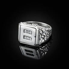 """Sterling Silver Letter """"B"""" Initial CZ Men's Ring"""