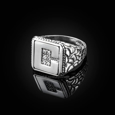 "Sterling Silver Letter ""C"" Initial CZ Men's Ring"
