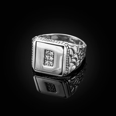 "Sterling Silver Letter ""D"" Initial CZ Men's Ring"