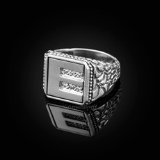 "Sterling Silver Letter ""E"" Initial CZ Men's Ring"