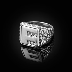 "Sterling Silver Letter ""F"" Initial CZ Men's Ring"