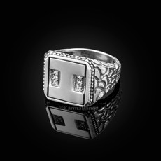 "Sterling Silver Letter ""I"" Initial CZ Men's Ring"