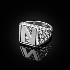 "Sterling Silver Letter ""N"" Initial CZ Men's Ring"