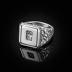 "Sterling Silver Letter ""O"" Initial CZ Men's Ring"
