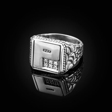 "Sterling Silver Letter ""P"" Initial CZ Men's Ring"