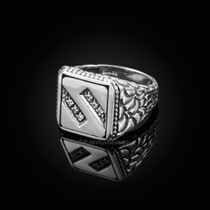 "Sterling Silver Letter ""S"" Initial CZ Men's Ring"