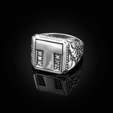 "Sterling Silver Letter ""T"" Initial CZ Men's Ring"