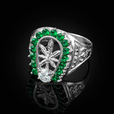 Silver Marijuana Weed Leaf Green CZ Mens Lucky Horseshoe Ring