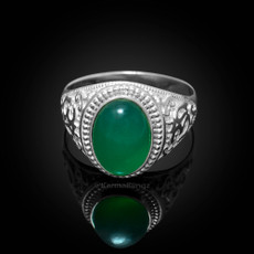 Sterling Silver Om (Aum) Green Onyx Yoga Ring