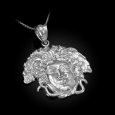 Sterling Silver Medusa Charm Necklace