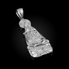 Sterling Silver Virgin Mary Our Lady of Guadalupe Pendant (S/L)