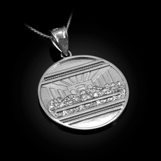 Sterling Silver Last Supper Medallion Pendant Necklace