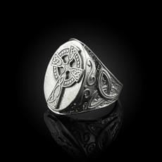 Silver Celtic Cross Celtic Band Mens Statement Ring