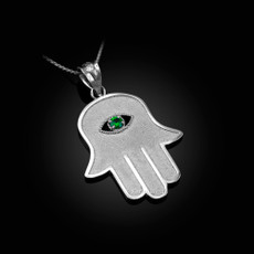 Sterling SIlver Hamsa Green CZ Evil Eye Pendant Necklace