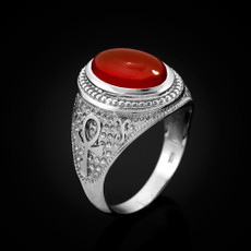 Sterling Silver Egyptian Ankh Cross Red Onyx Statement Ring