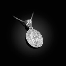 Sterling Silver Praying Virgin Mary Medallion Charm Necklace