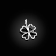 Sterling Silver Tiny Irish Shamrock Clover DC Charm Necklace