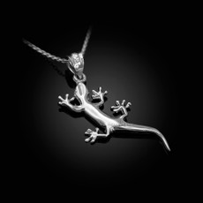 Polished Sterling Silver Lizard Charm Necklace