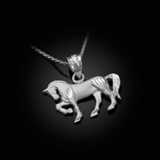 Satin DC Sterling Silver Horse Charm Necklace