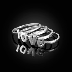 Sterling Silver Personalized Initial Alphabet Letter Stackable Ring
