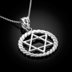 Sterling Silver Jewish Star of David Round Rope Pendant Necklace