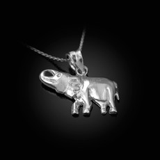 Polished Sterling Silver Elephant Charm Necklace