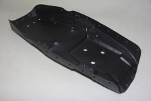 Metal seat pan with black powder coated paint