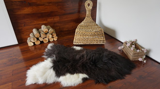 Natural Genuine Rare Breed Icelandic Sheepskin Rug - Choco, Blacky Brown & White Mix Colour - Soft Touch Long Wool - SI 103