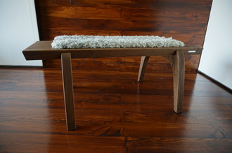 Minimalist Oak wood bench Upholstered with curly silver Swedish Gotland sheepskin - B0516O7
