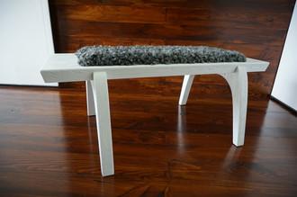 Minimalist white Oak wood bench Upholstered with curly silver Swedish Gotland sheepskin - B0516O8