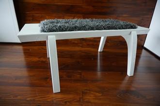 Minimalist white Oak wood bench Upholstered with curly silver Swedish Gotland sheepskin - B0516O10