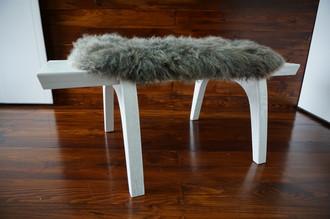 Minimalist white Oak wood bench Upholstered with curly silver mix Norwegian Pelssau sheepskin - B0516O15