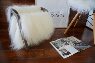Oak wood Magazine Rack with genuine white rare Icelandic sheepskin rug - extra longsoft wool