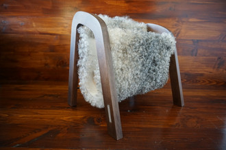 Oak wood Magazine Rack with genuine silver Swedish Gotland sheepskin rug - extra curly wool - (MR4)