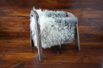 Oak wood Magazine Rack with genuine silver Swedish Gotland sheepskin rug - extra curly wool - (MR8)