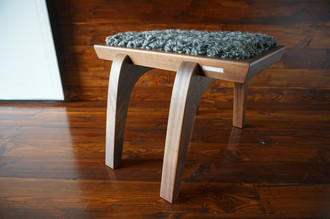 Minimalist Mahogany wood stool Upholstered with curly silver Scandinavian Gotland sheepskin - S0516M2