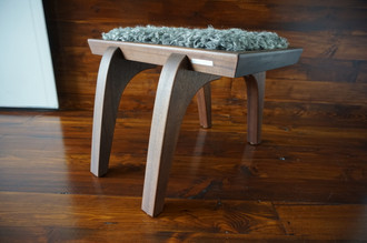 Minimalist Mahogany wood stool Upholstered with curly silver Scandinavian Gotland sheepskin - S0516M3
