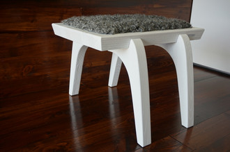 Minimalist white Oak wood stool Upholstered with curly silver Swedish Gotland sheepskin - S051601