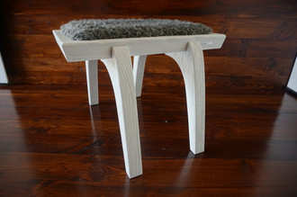 Minimalist white Oak wood stool Upholstered with curly silver Swedish Gotland sheepskin - S051604