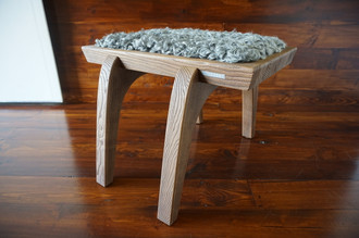 Minimalist Oak wood stool Upholstered with curly silver Swedish Gotland sheepskin - S051608